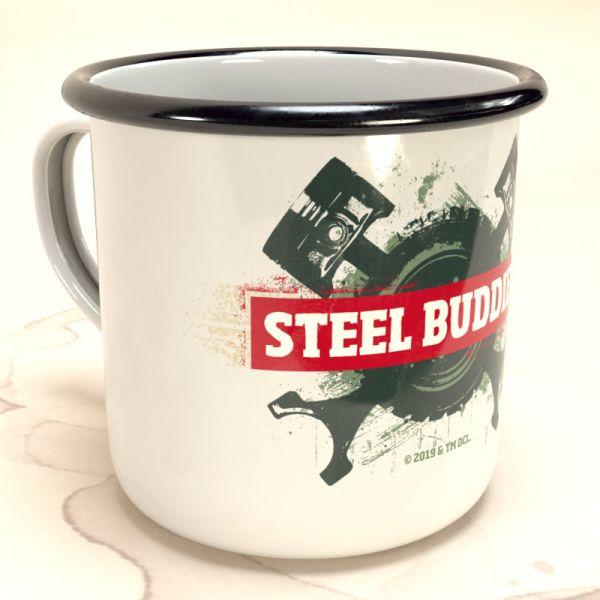 """Steel Buddies Emaille-Becher """"Logo"""""""