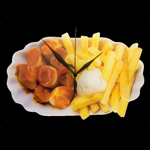 """Wanduhr """"Currywurst mit Pommes"""""""